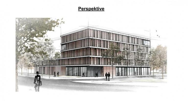 Perspektive: Neubau eines Dienstgebäudes für die Polizeiinspektion Augsburg West